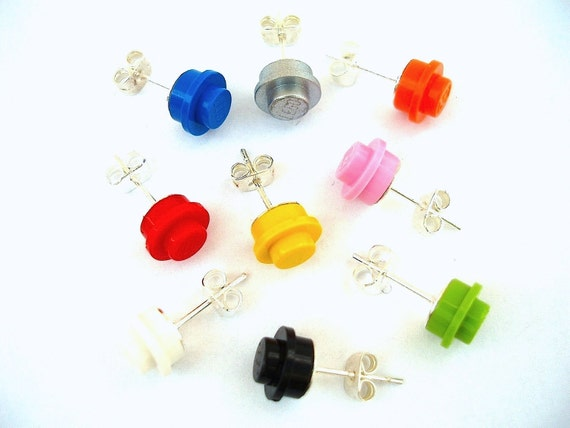 Pick your fav colour silver plated earrings 1 pair - Handmade with LEGO(r) studs