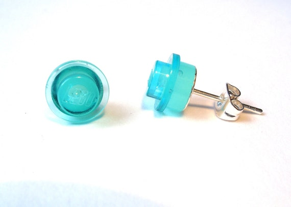 Transparent Blue silver plated earrings - Handmade with LEGO(r) studs