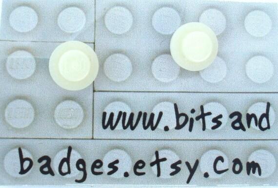 Glow in the Dark stud earrings - Handmade with glow in the dark LEGO(r) bricks