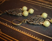 Brass filigree and vintage olive bead earrings