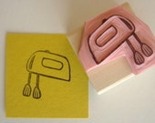 Hand Mixer Hand Carved Rubber Stamp