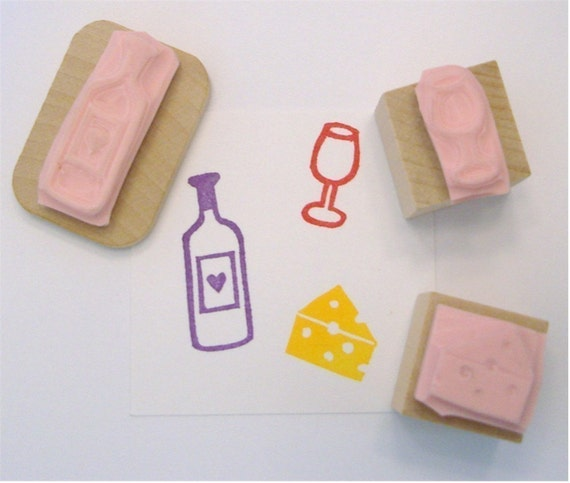 Wine and Cheese Hand Carved Rubber Stamp Set of 3
