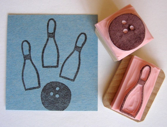 Bowling Set Hand Carved Rubber Stamp By Cupcaketree On Etsy