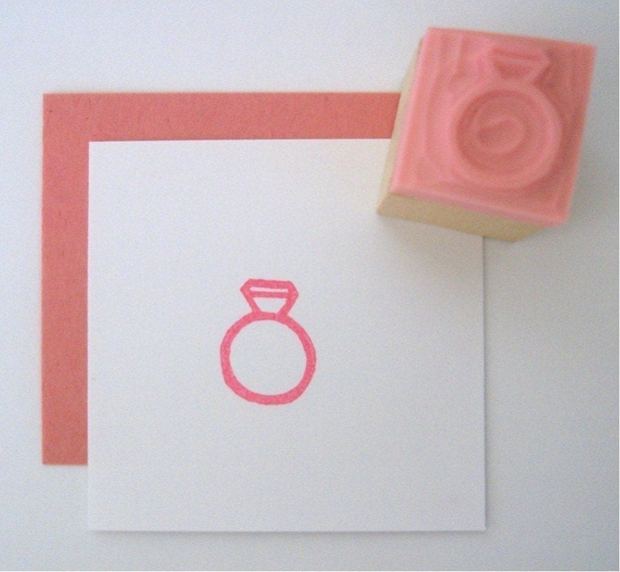 Mini wedding ring hand carved rubber stamp for Wedding dress rubber stamp