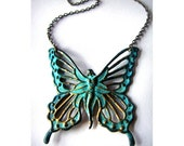 Beautiful Verdigris Patina Butterfly Goddess Necklace in Antique Bronze