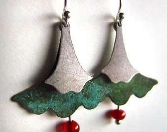 Marbleized Verdigris Patina Vintage Brass Ginkgo Leaf Earrings with Carnelian Drops