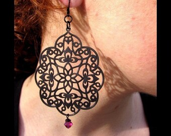 Jet Lace Filigree Fuchsia Crystal Drop Earrings