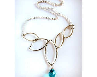 Falling Leaves Abstract Sterling Silver Necklace with Faceted Cerulean Blue Briolette