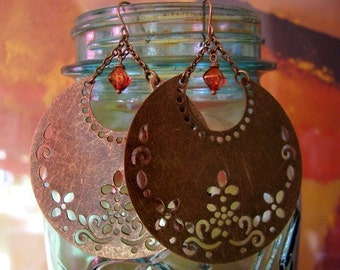 Gorgeous Crescent Moon Filigree Flowered Earrings in Antique Bronze