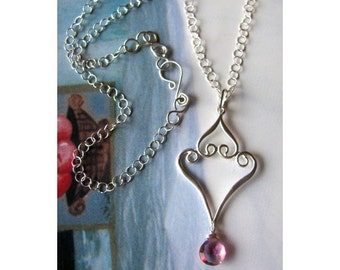 Mystic Pink Quartz and Silver Scroll Swirl Necklace Also Available with matching Earrings - Handmade Unique Valentine Gift
