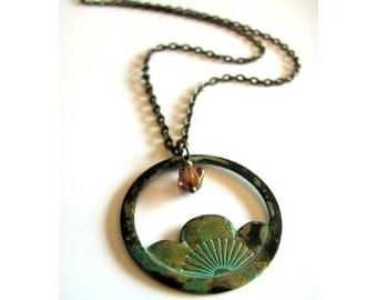 Beautiful Verdigris Patina Japanese Lotus Blossom Necklace in Antique Bronze