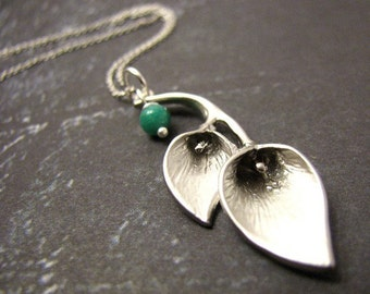Matte White Gold Calla Lily and Russian Amazonite Necklace also available in traditional Gold