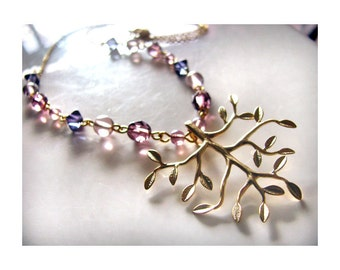 Shimmering Leaves Tree of Life Necklace in Gold with Violet Beads