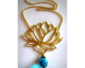 Gorgeous Tibetan Lotus Blossom Necklace in Gold with Faceted Cerulean Blue Briolette also available in Silver or Gunmetal