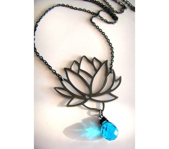 Gorgeous Tibetan Lotus Blossom Necklace in Gunmetal with Faceted Cerulean Blue Briolette also available in Silver or Gold