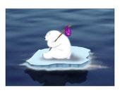 Homeless Polar Bear Travelling - Digital Print ACEO Art Card