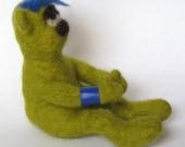 Needle Felted Green Bear - Maurice The Slightly Emo Bear
