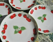 4 Strawberry Patch Plates by Shafford