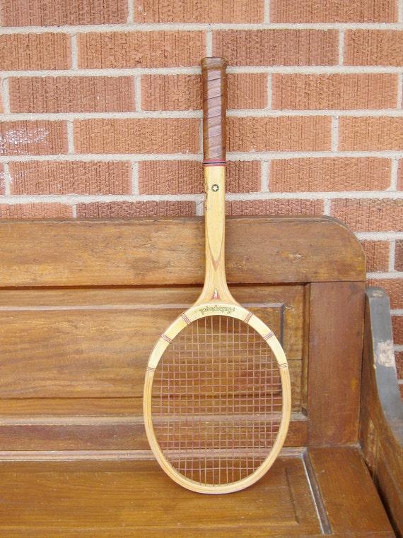 Vintage Wooden Tennis Racket in Wood Frame