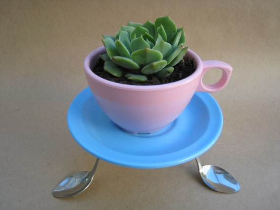 Pink Coffee Cup Planter with Blue Saucer and Spoon Plant Holder