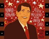 President Ronald Reagan by Jack Wolf - Red Art Print Portrait
