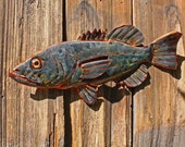 CUSTOM for you - copper fish sculpture with glass eye - repurposed - OOAK