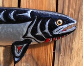 Chinook Salmon - large aluminum fish sculpture with glass eye by Mark - Pacific Northwest Coast Indian-inspired - repurposed - OOAK