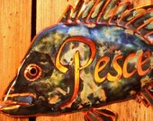 Pesce - copper rock fish plaque by Wendy and Mark - with calligraphy and verdigris green patina - OOAK