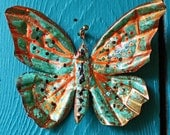 Copper Butterfly Ornament or Pendant  - with red-orange accents and turquoise blue-green patina - OOAK
