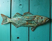 Copper Striped Bass fish by Mark - with turquoise blue patina - OOAK