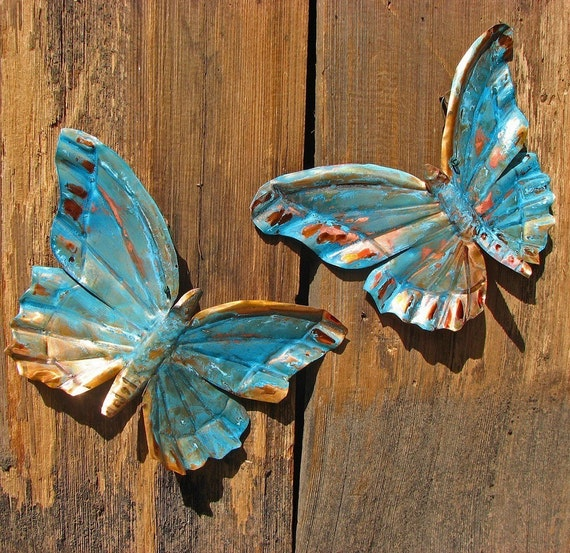 CUSTOM for you - copper butterfly pair by Mark - with green or blue patina - OOAK