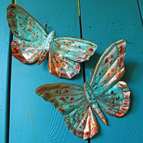 Copper Butterfly Sculptures by Mark - with red-orange and turquoise blue-green raku-type patinas - OOAK