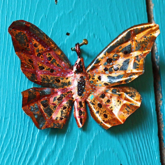 Copper Butterfly Ornament or Pendant  - with purple accents and deep blue patina - OOAK