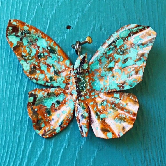 Copper Butterfly Ornament or Pendant  - with black accents and turquoise blue-green patina - OOAK