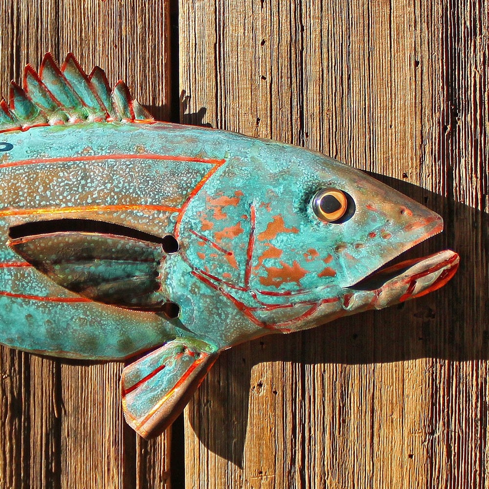 Copper Striped Bass Fish By Mark With Glass Eye And