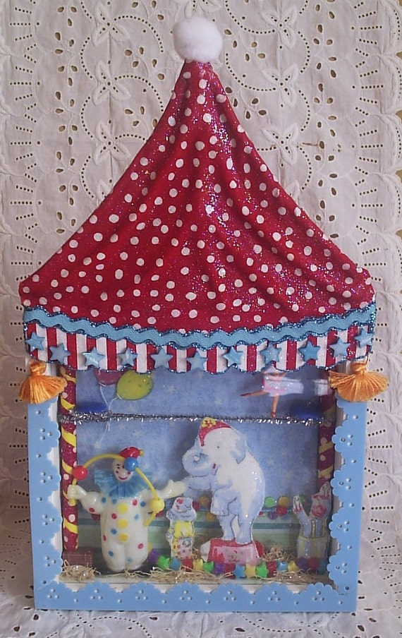 Bright, circus-theme shadowbox for children's room or nursery decor