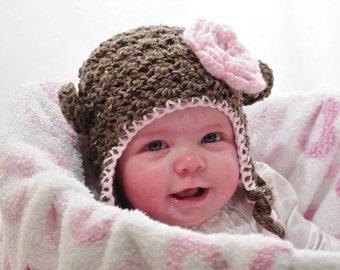 Girly Squirmy Little Monkey Hat- newborn, baby, toddler, child, adult
