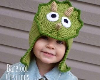 Triceratops Dinosaur Earflap Hat - Newborn to Adult Sizing - Custom Colours