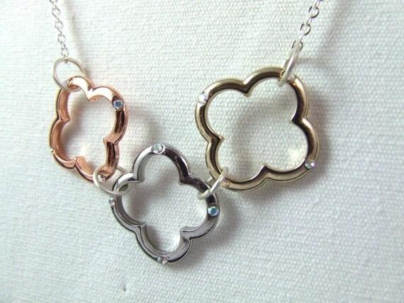 Swarovski Quatrefoil Tri-Colored Metal Necklace