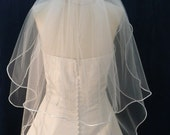 2 Tier satin trimmed bridal veil - choose elbow to waltz length