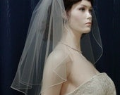 1 Tier Shoulder Flyaway Wedding Bridal Veil  22 inches in length with a Pencil Edge