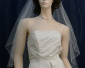 1 Tier fingertip Angel Cut Wedding Veil