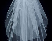 Wedding Bridal Veil   Two Tier Elbow length scattered Rhinestones with Plain Cut Edge