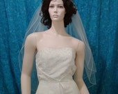 Wedding veils Bridal Veil 2 Tier  fingertip length finished with  a Silver Metallic Pencil Edge Available in Shoulder to Cathedral length