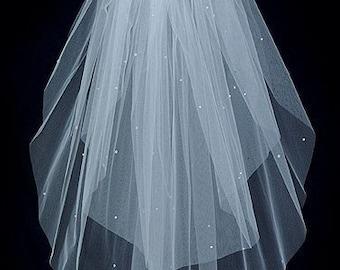 Wedding Bridal Veil    2 Tier Fingeretip length Swarovski Rhinestones Plain Cut Edge