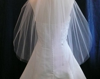 "27"" long raw cut edge bridal veil 2 tier classic style"