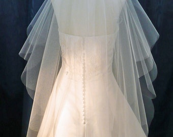 2 Tier Scalloped Edge Wedding Veil  flowing Raw Plain Cut Edge Available in Short to Chapel length