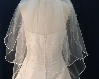 Wedding Veils Bridal Veil  2 Tier elbow length with   Satin Rattail Trim