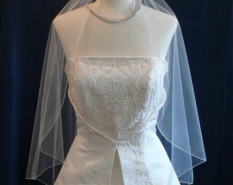 soft and flowing Elbow length Angel Cut Bridal Veil with a Delicate  Pencil Edge