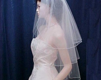 wedding veils bridal veils   3 TIER Fingertip length  finished with the most Delicate Pencil Edge